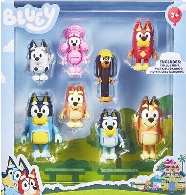 AU59.95 • Buy *GENUINE*  BLUEY 8 Pack Figurine Set Inc. Rusty , Muffin Coco & Snickers + More