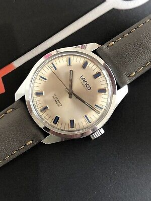 Lanco Vintage Watch With Pie Pan Dial & Blue Hour Markers 36mm • 220£