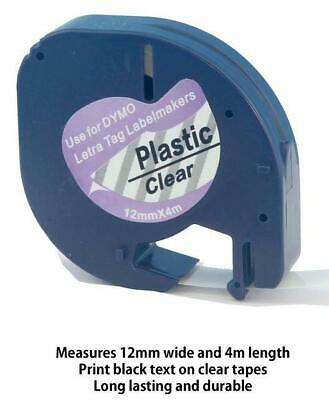 AU7.50 • Buy 1PK 12267 Compatible Dymo LetraTag LT-100H Clear Plastic Label Tape 12mm X 4m