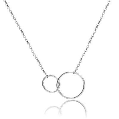 Sterling Silver Necklace Double Ring Karma Interlocking Circle Pendant Boho Gift • 3.99£