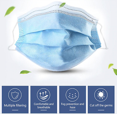 £2.99 • Buy Face Mask Surgical Disposable Mouth Cover 3PLY Breathable Respiration Dust Mask
