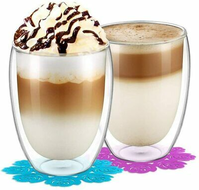 2x 350ml Double Walled Thermal Coffee Glass Tumbler Latte Cappuccino Cup Glasses • 14.49£
