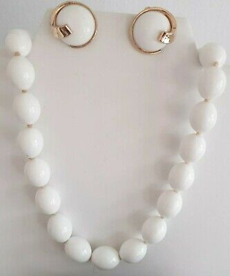 Vintage  Crown Trifari  White Lucite  Necklace/Earrings • 12£