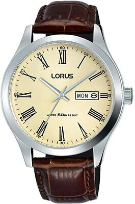 Lorus Mens Watch With Cream Dial And Brown Strap RXN53DX9 • 24.99£