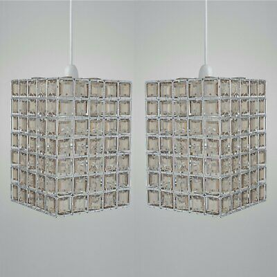 Set Of 2 Crystal Style Smoke & Clear Acrylic Jewelled Easy Fit Ceiling Light Sha • 15.99£