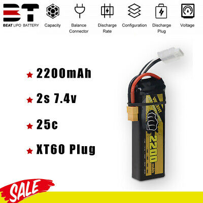 $ CDN24.90 • Buy BEAT 7.4V 2S 2200mAh 25C LiPO Battery For RC Model Airplane FPV Drone Boat Car