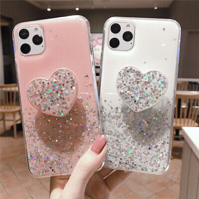 AU7.29 • Buy For IPhone 12 11 Pro Max Girls Soft Heart Cute Back Glitter Kickstand Case Cover