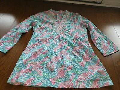 $48 • Buy Lilly Pulitzer Sarasota Embroidered Tunic Lobster Lobstah Roll Size Small