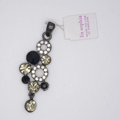 $ CDN8.16 • Buy Lia Sophia Signed Black Tone Slide Cut Crystals Necklace Pendant For Women Gifts