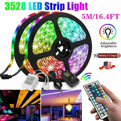 $14.99 • Buy 5M  Flexible Strip Light 3528 RGB LED SMD Remote Fairy Lights Room TV Party