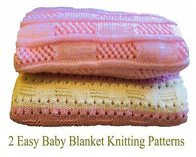 £3.75 • Buy KNITTING PATTERNS Easy Baby Blankets X 2, Beginner - Candy Stripe & Easy Lace
