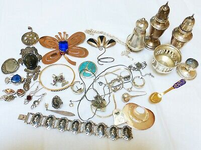 $ CDN299.35 • Buy Vintage Sterling Silver Jewelry Scrap Lot, Total Of 501 Grams