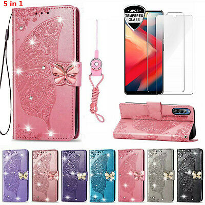 Bling Butterfly Wallet Phone Case With 2 Glass Screen Protector & Strap For Sony • 11.98£