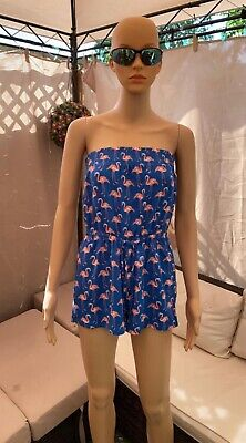 Gorgeous Flamingo Playsuit - Sizes 12,14,16,18 Strapless Bandeau Style Ex M&s • 5£