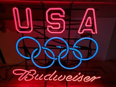 $ CDN670.28 • Buy Original Vintage USA Olympic Budweiser Neon Light Beer Sign Bud Anheuser-Busch