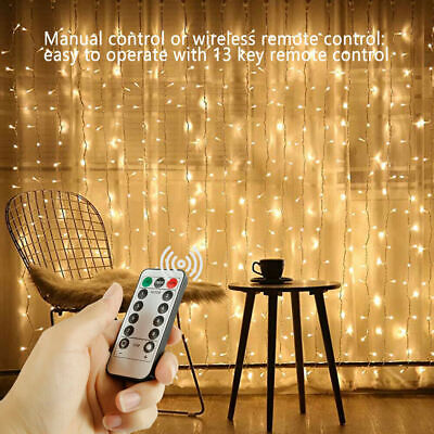 300 LED Fairy String Lights Curtain Window Wedding Party Decor Remote In/Outdoor • 9.98£