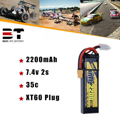 $ CDN24.49 • Buy 2200mAh 35C 7.4V 2S LiPo Battery XT60 Plug For RC Drone FPV Boat Airplane Heli