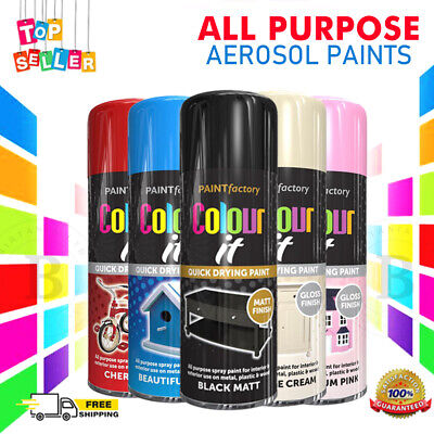 All Purpose Spray Paint White Black Metallic Texture  Neon Glitter Gloss 400ml • 5.99£