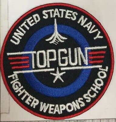 £2.35 • Buy Top Gun Round Iron/ Sew-On Embroidered Patch Fancy Dress Jacket T-Shirt Badge