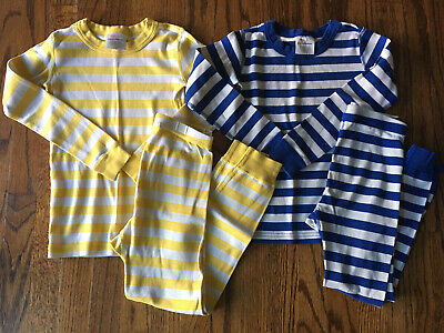 $29.99 • Buy EUC Hanna Andersson Organic Striped Long Johns Pajamas 120 6 7 Boys Girls