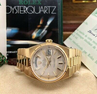 $ CDN16974.82 • Buy Rolex 36mm Day Date President Quartz 18k Yellow Gold Ref 19018 Box And Papers