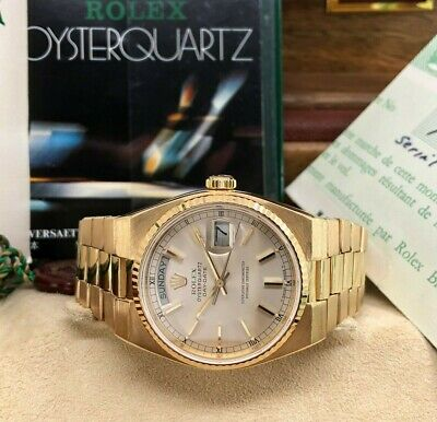 $ CDN14933.34 • Buy Rolex 36mm Day Date President Quartz 18k Yellow Gold Ref 19018 Box And Papers