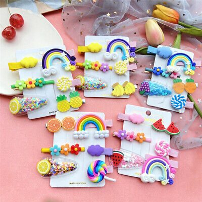 $2.99 • Buy 6Pcs Girls Baby Fruit Hair Clips Snap Kid Hairpin Barrettes Hair Bow Accessories