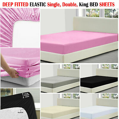 Elastic Deep Fitted Sheet Single Double King All Size Cotton Mattress Bed Sheets • 6.72£