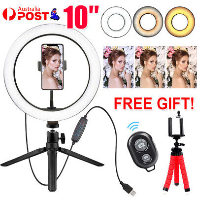 AU21.99 • Buy 10 Phone Selfie LED Ring Light Tripod Stand For Youtube Makeup Remote Video Live