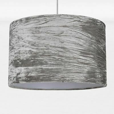 Modern Grey Crushed Velvet Ceiling Pendant Lampshade Easy Fit Light Shade • 17.99£