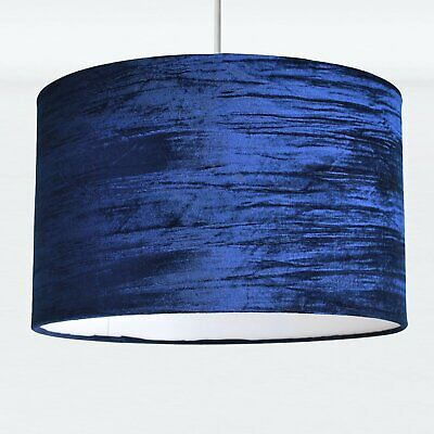 Modern Navy Crushed Velvet Ceiling Pendant Lampshade Easy Fit Light Shade • 17.99£