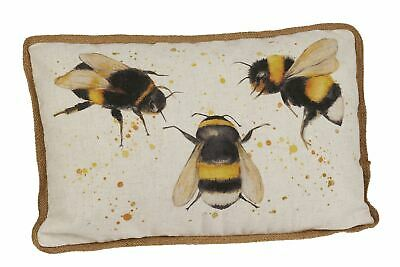Honey Bee Print Large Fabric Sofa Scatter Cushion - Bumblebee Bed Throw Pillow • 22.99£