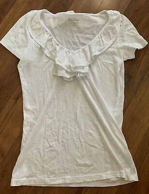 $16 • Buy Lilly Pulitzer Shirt Womens Size Small S White Blouse Top Ruffle