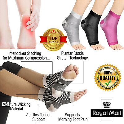 Plantar Fasciitis Socks Compression Support Foot Arch Ankle Brace Pain Relief UK • 4.99£