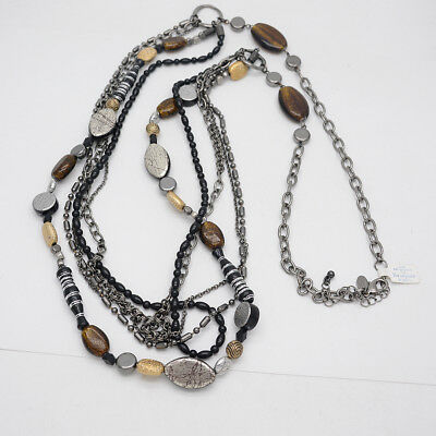 $ CDN17.64 • Buy Lia Sophia Jewelry Black Multi Layered Long Beaded Glass Stone Necklace For Gift