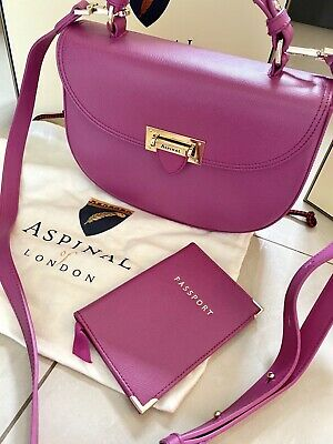 NEW ASPINAL Of LONDON PINK PORTOBELLO LEATHER SHOULDER BAG & PASSPORT HOLDER 1 • 189.99£