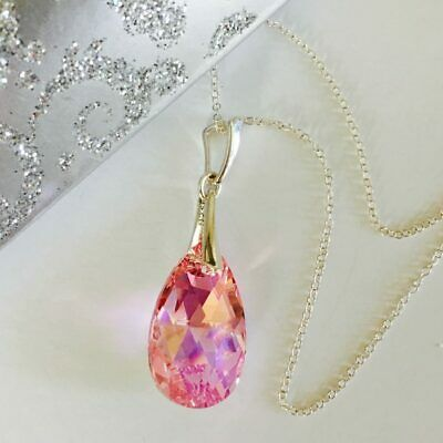 Made With Swarovski® Crystals Necklace Pear Pendant Jewellery Lt Rose AB Silver • 12.99£