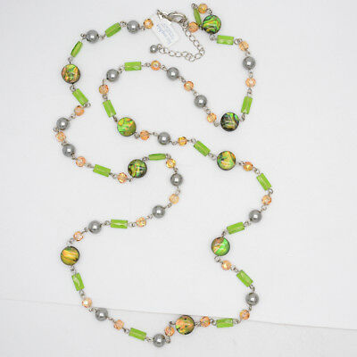 $ CDN9.49 • Buy Retired Lia Sophia Jewelry Green Beads Faux Pearl Long Necklace Chain For Women