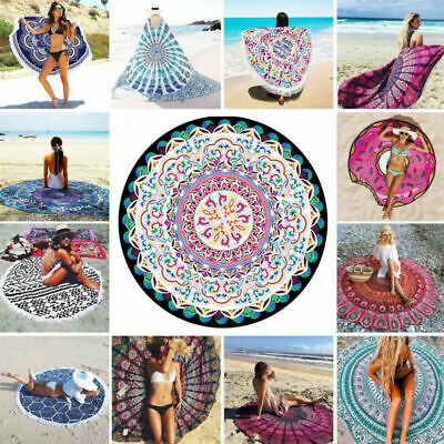 AU18.45 • Buy Round Large Beach Mat Bohemian Mandala Tapestry Travel Home Yoga Mat Swimming AU