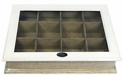 Shabby Chic White Wooden Two Tone 12 Section Compartment Storage Box With Lid • 14.99£