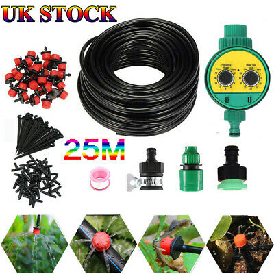 82ft Automatic Drip Irrigation System Kit Plant Timer Self Watering Garden Hose • 16.99£