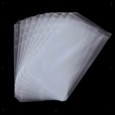 AU9.69 • Buy 10pcs Clear Binder Pockets 6 Rings Binder Pages Plastic Protector Sleeves A6