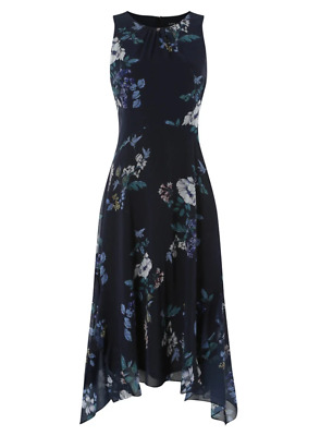 Brand New Ex Chainstore Navy Floral Hanky Hem Ruffle Midi Dress Sizes 10-16 • 19.95£