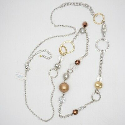 $ CDN12.21 • Buy 43 -45  Lia Sophia Jewelry Silver Tone Long Necklace Beads Pearl Two Tone Chain