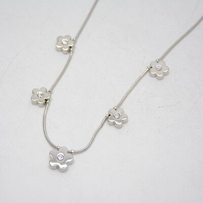 $ CDN10.88 • Buy NWT Lia Sophia Signed Jewelry Silver Plated Cute Polished Flower Short Necklace