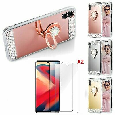 Ring Holder Mirror Soft Phone Cases With 2* Screen Protector Film For IPhone LG • 9.99£