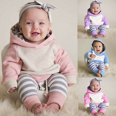 AU22.70 • Buy 3PCS Newborn Toddler Baby Girls Outfits Clothes Hoodie Top+Pants+Headband Set Tc