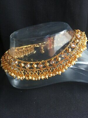 £19.99 • Buy Stunning Pearl Diamante Jingle Golden Anklet Indian Payal Ankle Chain Bollywood