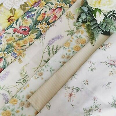 Vintage Remnants Reclaimed Fabric Sanderson Salad Days Cabbage Rose Sewing  67 • 26£