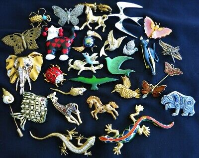 $ CDN68 • Buy VINTAGE FIGURAL ANIMAL BROOCH PIN JEWELRY LOT Birds Cat Insect JELLY BELLY 29pcs